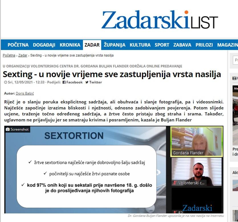 """""""Sexting – u novije vrijeme sve zastupljenija vrsta nasilja"""" (Zadarski list)"""