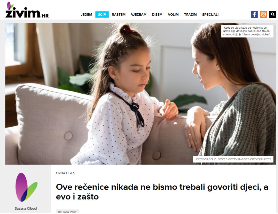 Objava o rečenicama koje se ne govore djeci u Živim.hr
